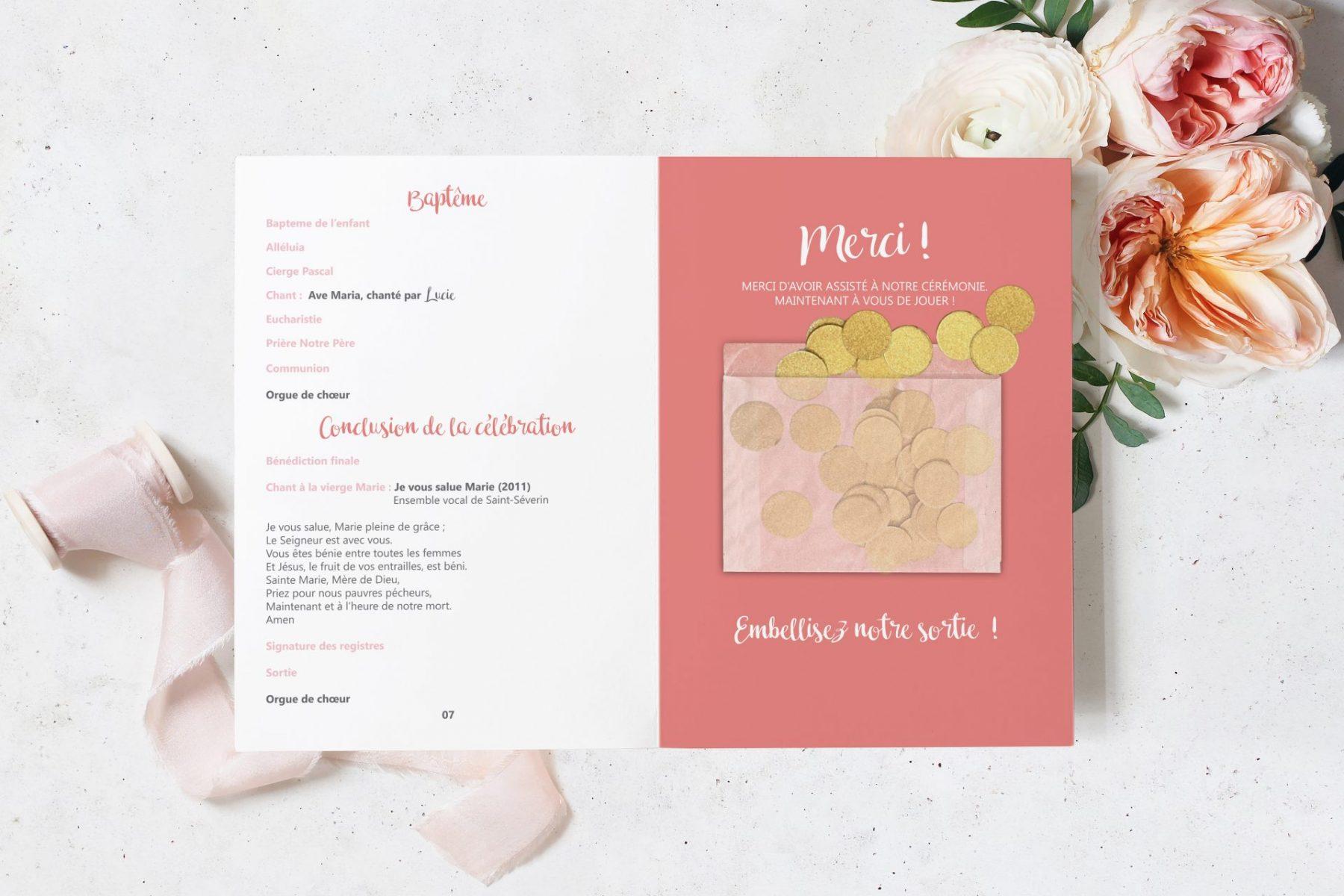 Livret de messe et confettis couleur Rose et corail pour mariage à Nîmes