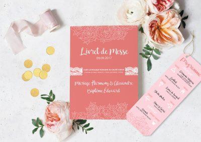 Papeterie de mariage Rose & Corail